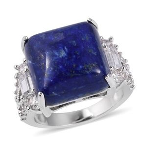 Jewelry - Lapis Lazuli, Simulated White Dia Silvertone Ring